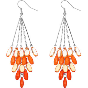 Orange Transparent Beaded Chandelier Earrings