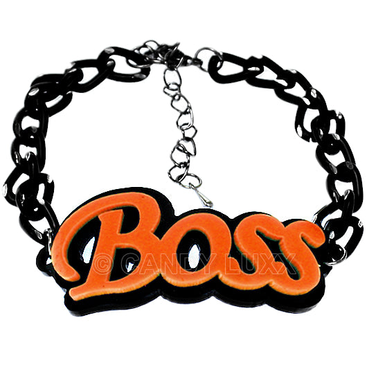 Orange Boss Letter Link Chain Bracelet