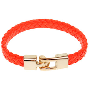 Orange Braided Woven Leather Latch Bracelet