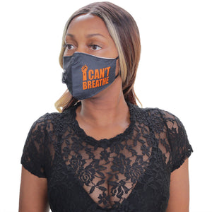Orange I Can't Breath Filter Pocket Face Mask