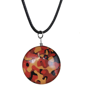 Orange Camo Murano Glass Cord Necklace