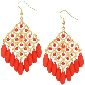 Orange Coral Dangle Bead Chandelier Earrings