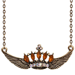Orange Crown Double Wing Chain Necklace