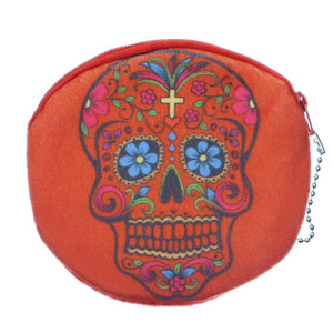 Orange Day of the Dead Skull Zipper Wallet