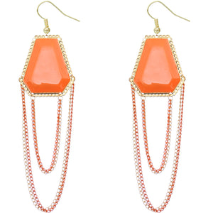 Orange Double Chain Geometric Dangle Earrings