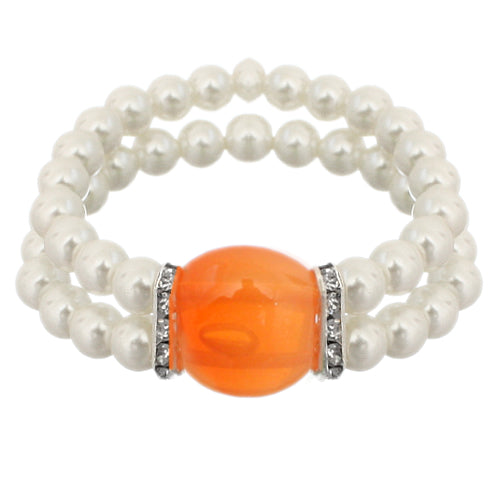 Orange Gemstone Faux Pearl Stretch Bracelet
