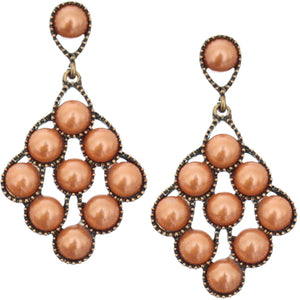 Orange Faux Pearl Open Beaded Post Earrings