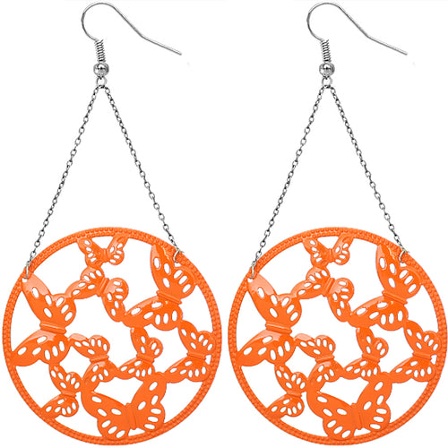 Orange Gigantic Butterfly Chain Earrings