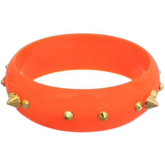 Orange Pointy Spike Round Bangle Bracelet