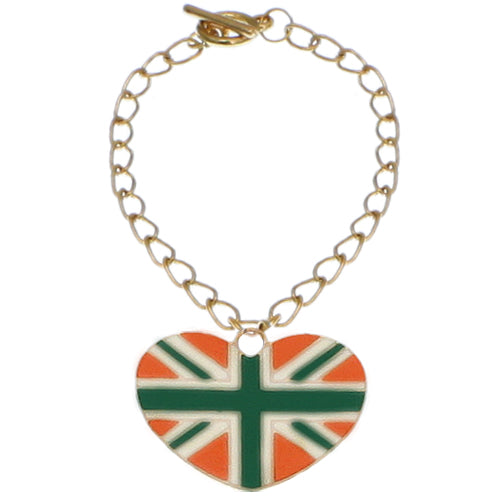 Green Orange Heart Union Jack Flag Toggle Charm Bracelet