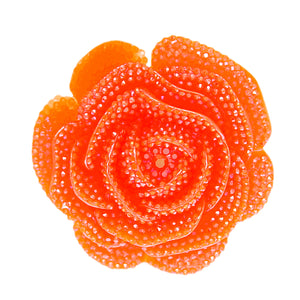 Orange Large Glitter Flower Stretch Ring