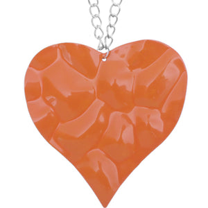 Orange Large Hammered Heart Chain Necklace