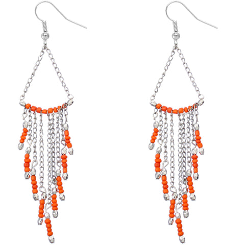 Orange Long Beaded Dangle Earrings