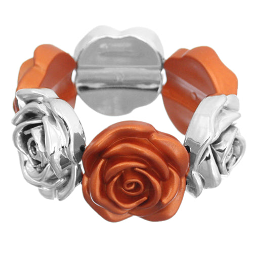 Orange Metallic Floral Stretch Bracelet