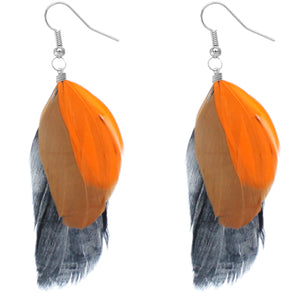 Orange Multicolor Feather Drop Earrings