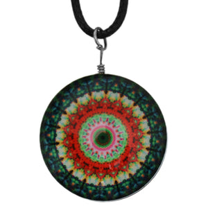 Green Orange Kaleidoscope Nylon Charm Necklace