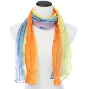 Orange Multicolor Lightweight Crinkle Wrap Scarf