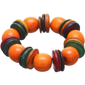 Orange Multicolor Wooden Bead Stretch Bracelet