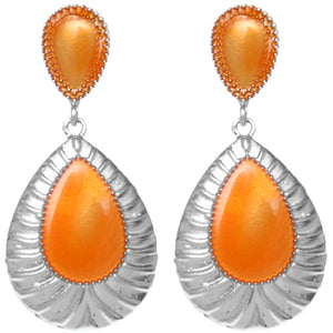 Orange Pear Shaped Post Earrings