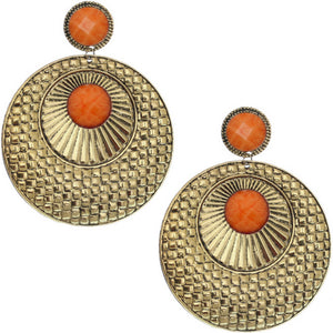 Orange Large Beaded Thin Disc Earrings