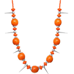 Orange Wooden Sequin Spike Necklace Set