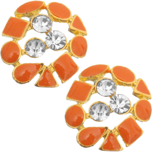 Orange Rhinestone Multi-Shape Post Earrings