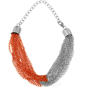 Orange Silver Multi Line Chain Bracelet