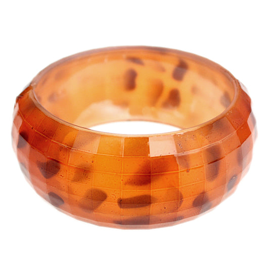 Orange Spotted Cheetah Hinged Bracelet