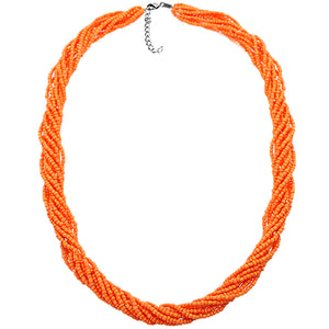 Orange Intertwined Sequin Beaded Necklace