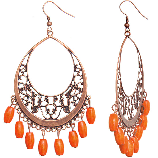 Orange Wooden Filigree Drop Earrings