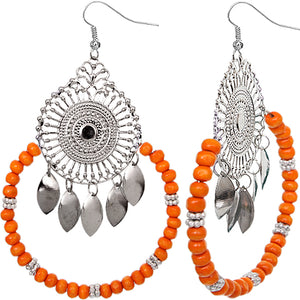Orange Wooden Beaded Dream Catcher Earrings
