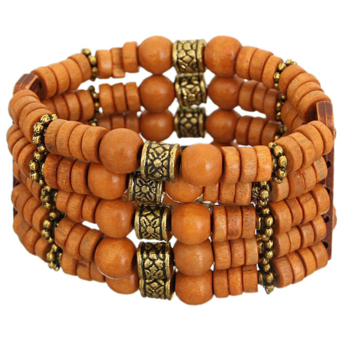 Orange Wooden Beaded Stretch Bracelet