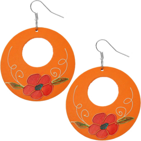 Orange Wooden Hand Painted Floral Earrings