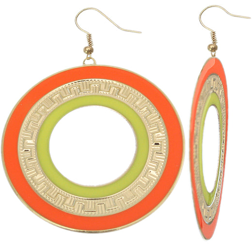 Orange Yellow Thin Disc Dangle Earrings