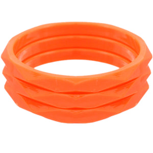Orange 3-Piece Flat Design Stacked Bracelets
