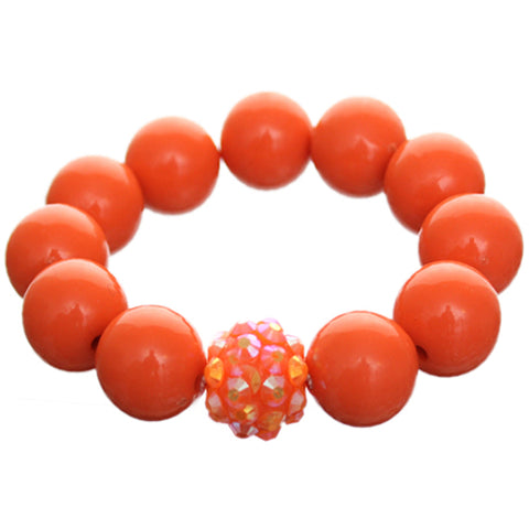 Orange Large Fireball Beaded Stretch Bracelet