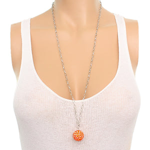 Orange Beaded Fireball Charm Chain Necklace