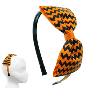 Orange Zigzag Chevron Ribbon Bow Headband
