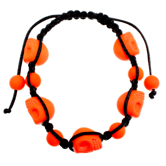 Orange Skull Head Beaded String Bracelet