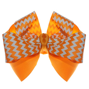Orange Chevron Zigzag Ribbon Hair Bow