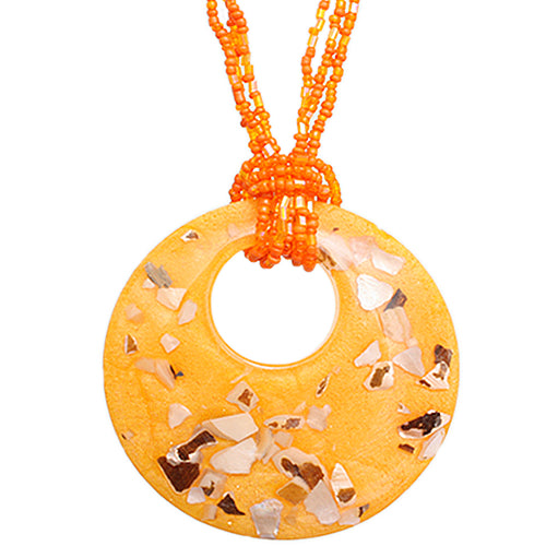 Orange Open Circle Faux Marble Beaded Necklace Set