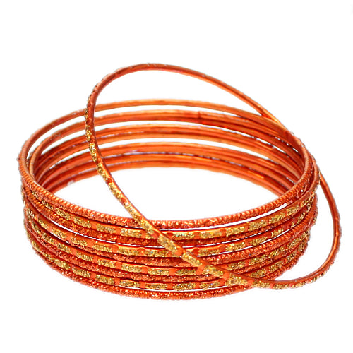 Orange Thin Glitter Stacked Bangle Bracelets