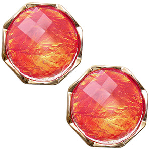 Orange Gold Iridescent Faux Gemstone Post Earrings
