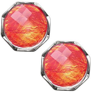 Orange Iridescent Faux Gemstone Post Earrings