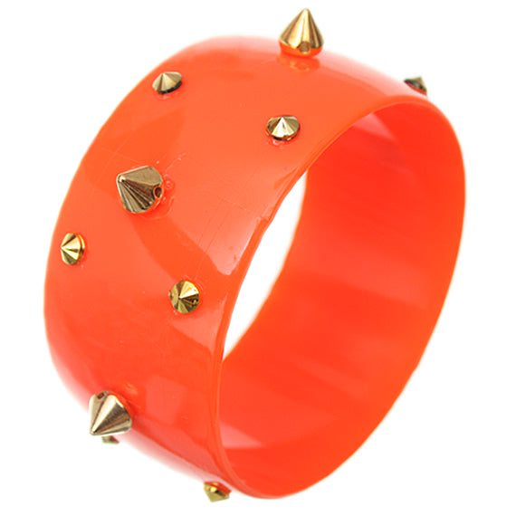 Orange Spiked Bangle Bracelet