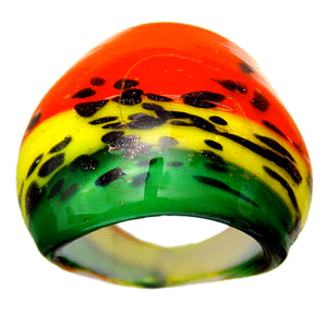 Red Multicolor Yellow Glass Ring