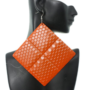 Orange Oversized Hammered Honeycomb Pyramid Earrings