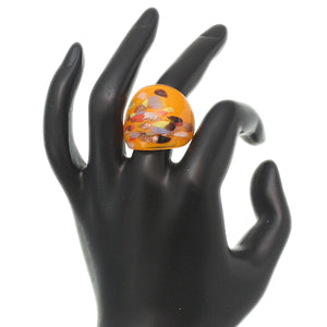 Orange Multicolor Speckled Glass Murano Ring
