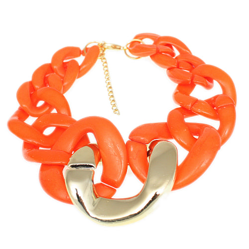 Orange Graduated Adjustable Chain Link Bracelet