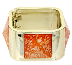 Orange Spotted Pyramid Hinged Bracelet